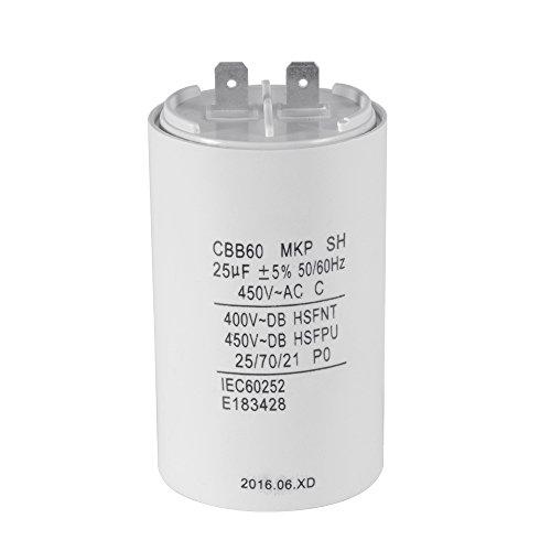 XCSOURCE® Waschmaschine CBB60 25uF AC 450V Motor Run Kondensator Weiß Shell HS837 (Waschmaschine Isolation)
