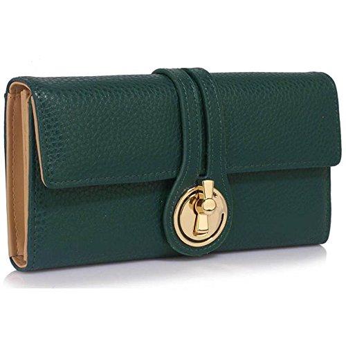 LeahWard® Genuine Kunstleder Geldbörsen Brieftaschen Mode nett Groß Geldbörsen Tasche Teal 1078