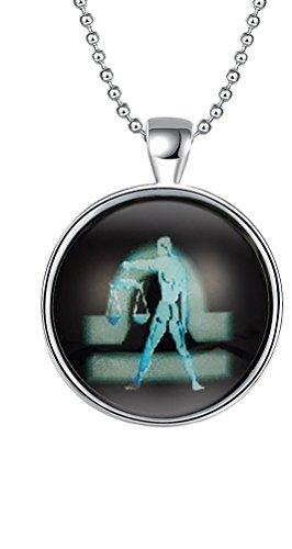 sunifsnow Halloween Silber vergoldet rund Waage Anhänger Luminous Halskette (Christian Halloween Ideen)