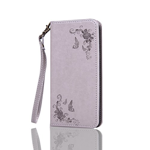 Cozy Hut Samsung Galaxy A3 2017 Hülle | Handyhülle | Schutzhülle | Handytasche | Tasche | Cover | Case mit Premium Vintage / Retro Genuine Scrub Leather Flip Folio Leather Wallet Stand Case with card slots and side pocket Shell Für Samsung Galaxy A3 2017 Schmetterlings-Rose Muster Hülle - grau