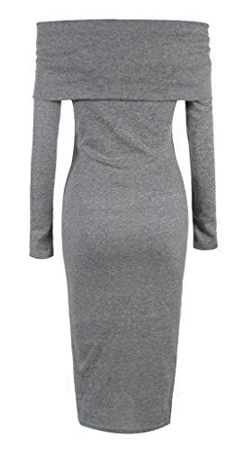 Smile YKK Elegant Schulterfrei Damen Knielanges Kleid Slim Fit Kleid Party Kleid Langärmelig Grau