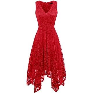 bridesmay Damen Sexy übergröße Cocktailkleid unregelmäßig Spitzenkleid Zipfel Kleid Sommerkleider Red XL