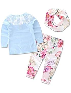 Für 0-3 Jahre alt Mädchen,,Amlaiworld Baby Kinder Langarm T-Shirt Top + Floral Print Hose + Haarband Outfits Set