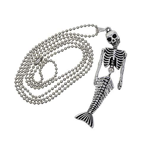 MagiDeal Halloween Perlenkette mit Meerjungfrau Skelett Anhänger Schlüsselanhänger Strass Anhänger Schlüsselbund Handtasche ()