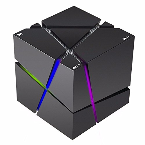 AIYIBEN Mini Portable Wireless Bluetooth Stereo Lautsprecher Dual Sound-Proof High Performance Bass mit Magic Cube Musik-Player Colorful LED Light TF Radio für iPhone Samsung Galaxy S7 Sony (Black) (Cube Bluetooth Wireless-lautsprecher)