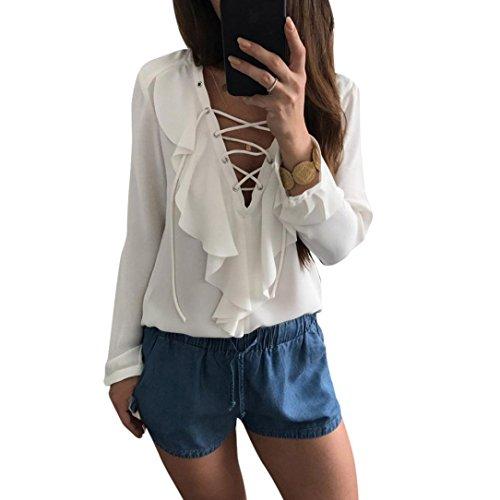 Femmes Chemisier, OverDose Sexy Tops DéContractéE V Neck Les Bretelles Manche Longue Tops Chemise Dames En Vrac T-Shirt Chemisier Blanc