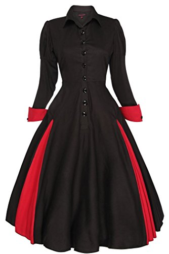 Neuf Femmes Edwardian Vintage De 1900 Des Années 20 Retro Swing Victorien Manteau Robe Noir
