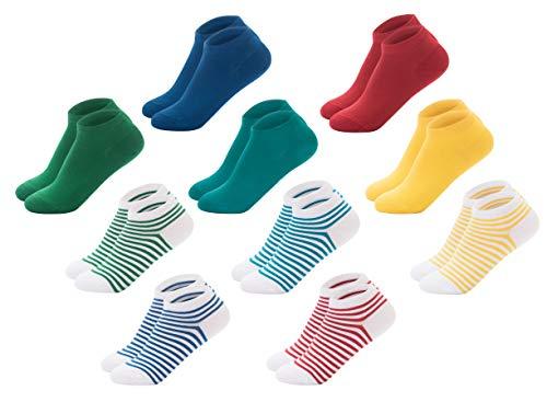 Premium-socken Set (FOOTNOTE I 10 Paar I Sneaker Socken Ohne Gummi Ohne Naht Damen Herren Unisex Bunt Rot Grün Blau Gelb Türkis Gestreift 35 36 37 38)