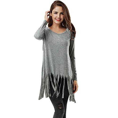Xshuai Frauen-Troddel-langes Hülsen-O-Ansatz-Hemd beiläufiges Blusen-Baumwolloberseiten-T-Shirt Grau