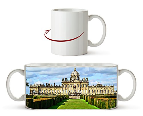 Majestätisches Schloss Howard in England, North Yorkshire Effekt: Zeichnung als Motivetasse 300ml,...