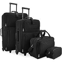 Set di Valigie Trolley nero Serie di 4 valigie in tessuto resistente con 2 ruote e piedini di appoggio - Con Borsa a tracolla e Beauty case - SISTEMA DI CINGHIE CON FIBBIE A SCATTO