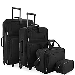 4pcs Trolley Set Travel Suitcase Baggage Luggage Vanity Bag Soft Shell Wheeled Holdall Lightweight Cabin Case - Storable in each other