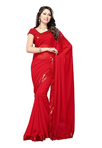 Ideal Trendz Chiffon Silk Saree With Blouse Piece (I Special Red_Gold_Free Size)