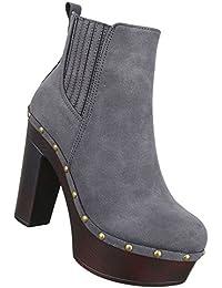 Damen Stiefeletten Schuhe Keil Wedges Boots Used Optik Braun 37