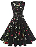 Gardenwed Damen 1950er Vintage Cocktailkleid Rockabilly Retro Schwingen Kleid Faltenrock Black Small Cherry 2XL