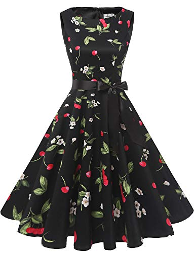 Gardenwed Damen 1950er Vintage Cocktailkleid Rockabilly Retro Schwingen Kleid Faltenrock Black Small Cherry 3XL - Neue Kleider