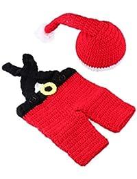 WSXX Nouveau-né Photographie Tricoté à La Main Vêtements De Noël Set De  Laine À Tricoter Photo Bébé… 1487b1e76db
