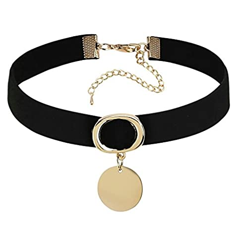 Daesar Womens Necklace Stainless Steel Ring Dangle Round Tag Gold Black Choker Necklaces, 31.8+8.3CM