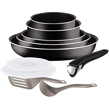 Tefal L2009802 Set de poêles et casseroles - Ingenio 5 Essential Noir Set 10 Pièces - Tous feux sauf induction