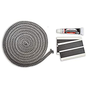Junta para puerta de chimenea, juego de junta de 3 m, diámetro de 10 mm, incluye adhesivo y brida de cordón para Justus…