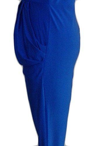 GSP-Combinaisons Aux femmes Sans Manches Sexy / Vintage / Soirée / Travail / Décontracté / Grandes Tailles Coton / Mélanges de Coton Moyen blue-m