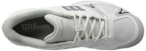 Wilson Rush Evo Wh/Pearl Blue/Navy, Chaussures de Tennis Homme Blanc (White/Pearl Blue/Navy)