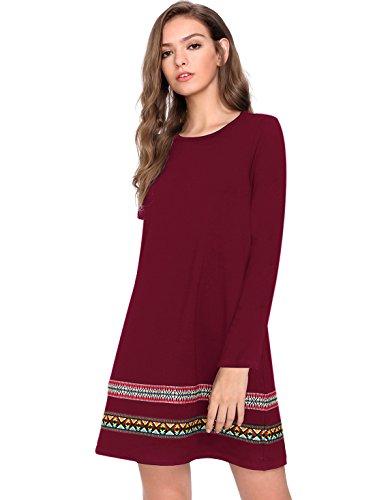 ROMWE Damen Langarm T-Shirt Baumwollkleid Hundhals Sommer Kleid Burgundy XL