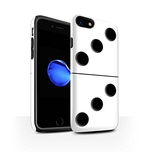STUFF4 Glanz Harten Stoßfest Hülle / Case für Apple iPhone 8 / Schwarz Kachel 5/4 Muster / Domino/Dominos Kollektion Weiß Kachel 3/3