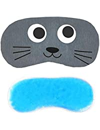 Jenna Line Cartoon Polyester Ice Gel Eye Mask for Insomnia, Meditation, Puffy Eyes and Dark Circles - Grey