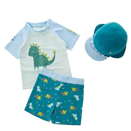 G-Kids Kinder Jungen Badeanzug Bademode Schwimmbekleidung Uv-Schutz Dinosaurier Bade-Set mit Hut (Blau, 2-3 Jahre)