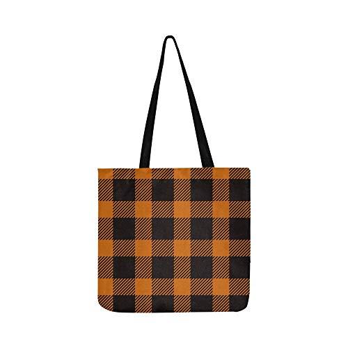 Halloween Tartan Trendy Canvas Tote Handtasche Schultertasche Crossbody Taschen Geldbörsen für Männer und Frauen Einkaufstasche
