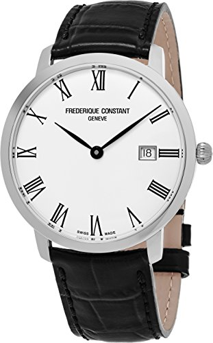Frederique Constant Slimline Classic Stainless Steel Automatic Mens Watch - 40mm Analog Silver Face with Date and Sapphire Crystal - Black Leather Band Swiss Made Automatic Watch For Men FC-306MR4S6