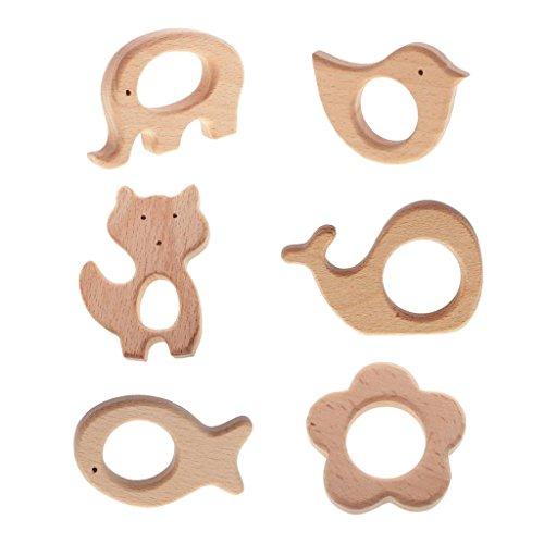 SGerste - Lot de 6 anneaux de dentition en bois pour bébé - En forme d'animaux