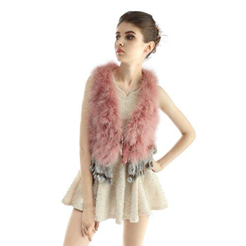 OLLEBOBO Vera Pelliccia Gilet Donna Tacchino Fur Sleeveless con Gonna Moda taglia 3XL rosa scuro