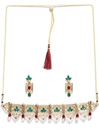 Zaveri Pearls Finely Designed Gold Tone Choker Necklace Set For Women-ZPFK7247