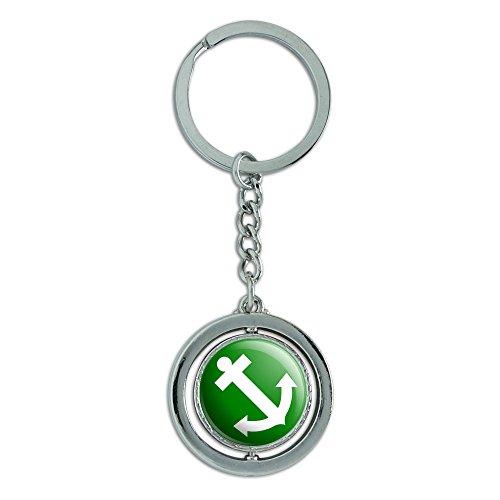 Preisvergleich Produktbild Anker Segelschiff Spinning Grün Runde Metall Schlüsselanhänger Schlüsselring