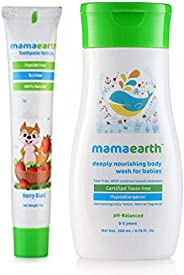 Mamaearth 100 Percent Natural Berry Blast Kids Toothpaste, 50g & Deeply Nourishing wash for Babies (200 ml