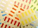 80 Labels , 20x10mm Arrows , Removable / Low Tack Adhesive , Mixed Colour Code Stickers , Self-Adhesive Sticky Coloured Labels