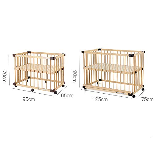 GYZ Crib Solid Wood Newborn Multi-functional Paint-free Baby Bed With Roller Splicing Large Bed-65X95X70CM, 75X125X90CM (Size : 75X125X90CM)  Liang Jia Hui SHOP