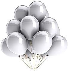 Idea Regalo - Vercrown 100 Pz Palloncini Argento per Party, Compleanni, Matrimoni, Anniversario,Natale e Nuovi Anni Decorazione 12 Pollici 2.8g Latice Palloncini