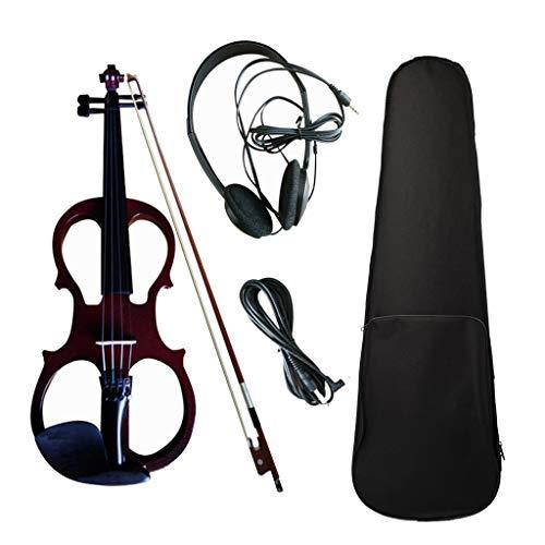 Preisvergleich Produktbild WGE Violine Volle Größe 4 / 4 Massivholz Silent Electric Violine Ahorn Korpus Ebenholz Griffbrett Heringe mit Violine Zubehör, WineRed