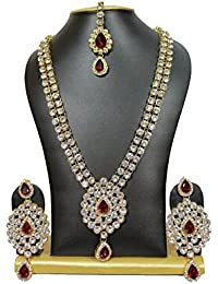 Shining Diva Traditional Crystal Jewellery Necklace Set With Maang Tikka & Earrings For Women / Girls