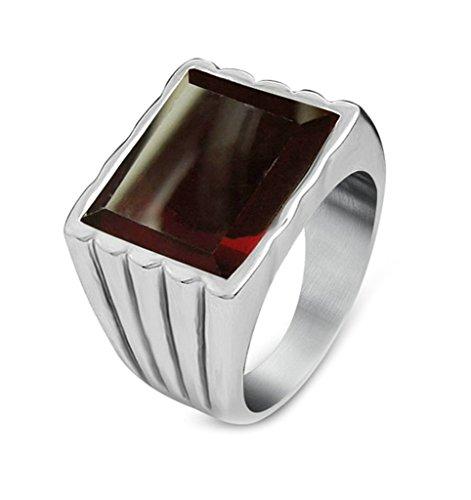 l Herren Quadratischer Ring Rot Gothic Ring Men Ringgröße 57 (18.1) ()