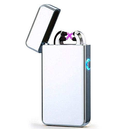 USB Elektronisches Feuerzeug Dual Lichtbogen Aufladbar Winddicht (Silber)