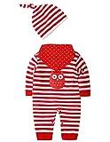 SANMIO Newborn Baby 3 Pcs Strampler Spielanzug Baumwolle Langarm Bodysuit Unisex Kleinkinder Streifen Jumpsuits mit Hut & Geifer-Lätzchen