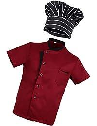 Baoblaze 1X Camiseta 1X Sombrero Hotel Cocina Uniforme M Playa Cóctel de Playa Tropical Hawaiano