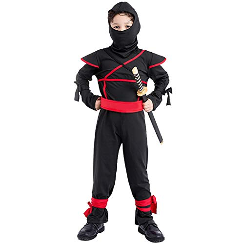 Jeff-chy Karnevalsnacht Kinder Ninja Kostüm Masked Warrior COS Kostüm Halloween Cosplay Schwarz Ninja Kleid Stage Dress - Ninja Warrior Kind Kostüm