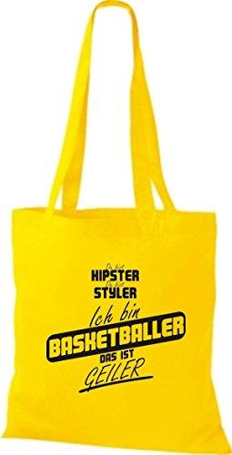 Shirtstown Stoffbeutel du bist hipster du bist styler ich bin Basketballer das ist geiler gelb