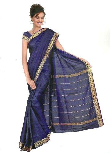Trendofindia Trendofindia Fertig gewickelter Regenbogen Sari Royalblau Gr. S