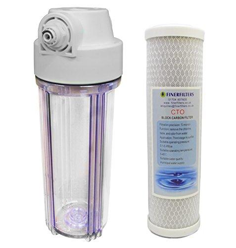25,4cm Standard Filter klar Gehäuse mit 1/10,2cm Häfen und Carbon Block Filter -
